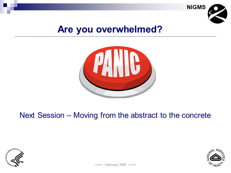 Next Session – Moving from the abstract to the concrete