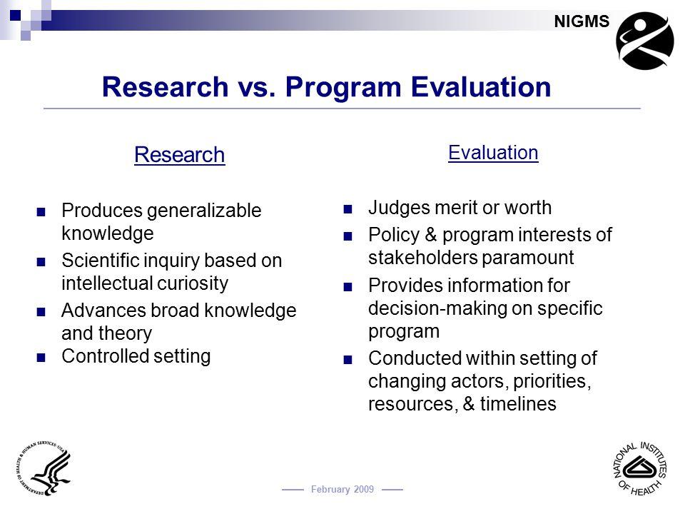 Research vs. Program Evaluation