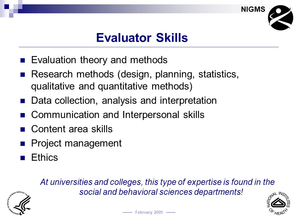 Evaluator Skills Evaluation theory and methods
