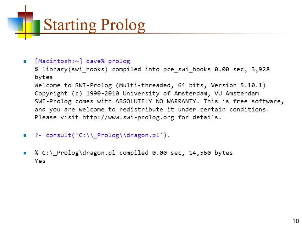 Starting Prolog