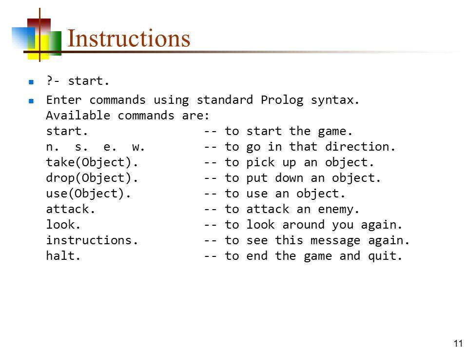 Instructions - start.
