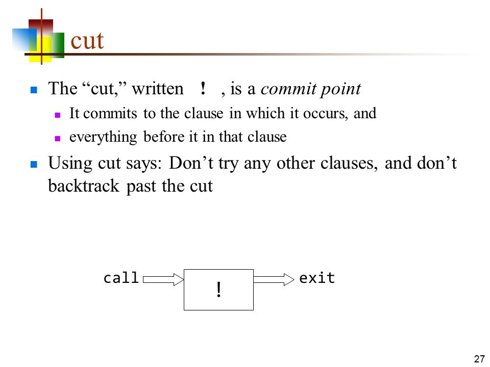 cut ! The cut, written ! , is a commit point