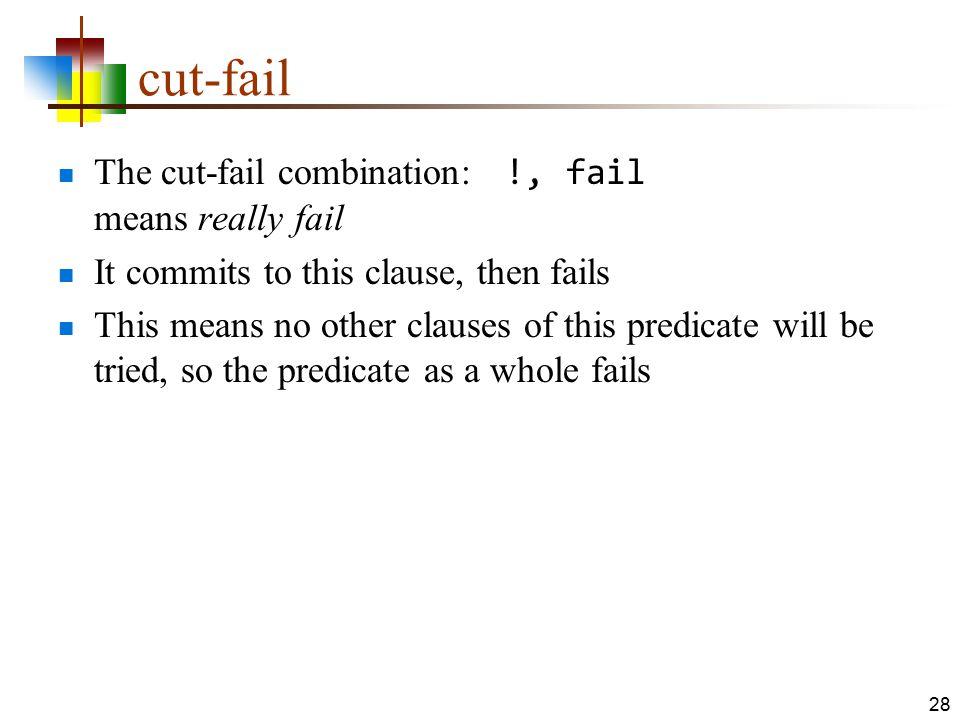 cut-fail The cut-fail combination: !, fail means really fail
