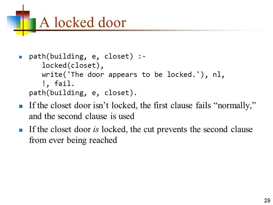 A locked door path(building, e, closet) :- locked(closet), write( The door appears to be locked. ), nl, !, fail. path(building, e, closet).