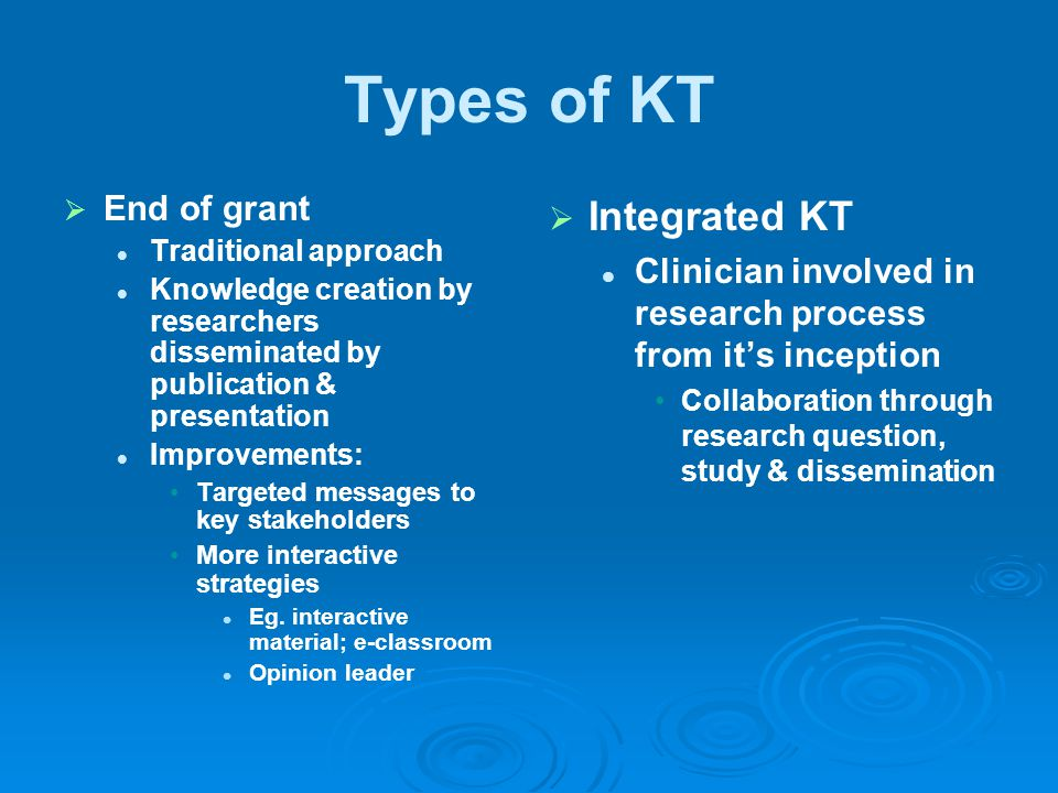Types of KT Integrated KT End of grant