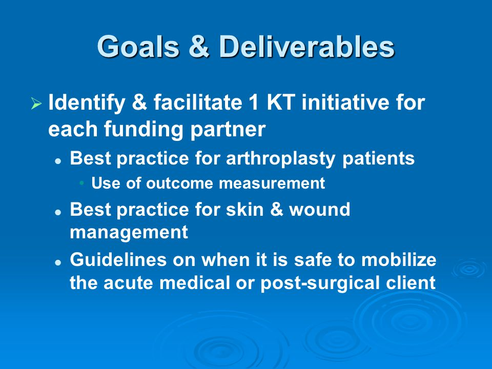 Goals & Deliverables Identify & facilitate 1 KT initiative for each funding partner. Best practice for arthroplasty patients.