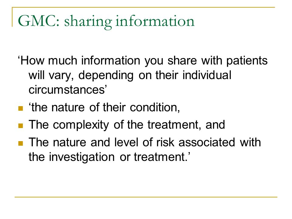 GMC: sharing information