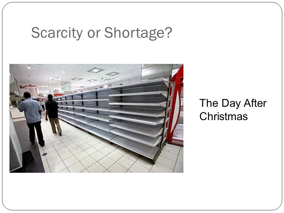Scarcity or Shortage The Day After Christmas