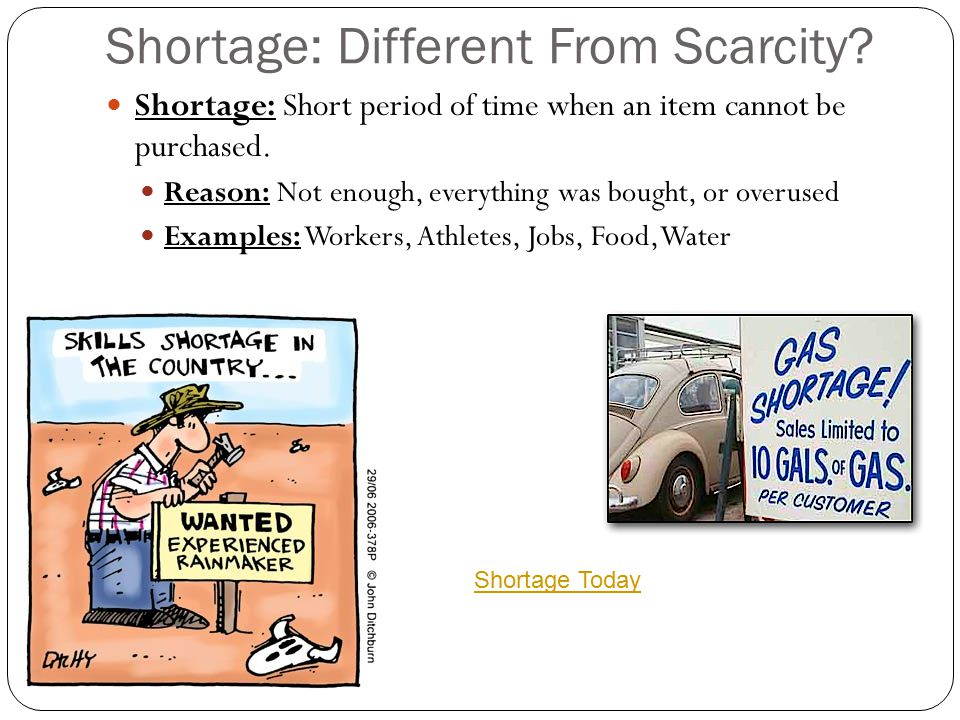 Shortage: Different From Scarcity