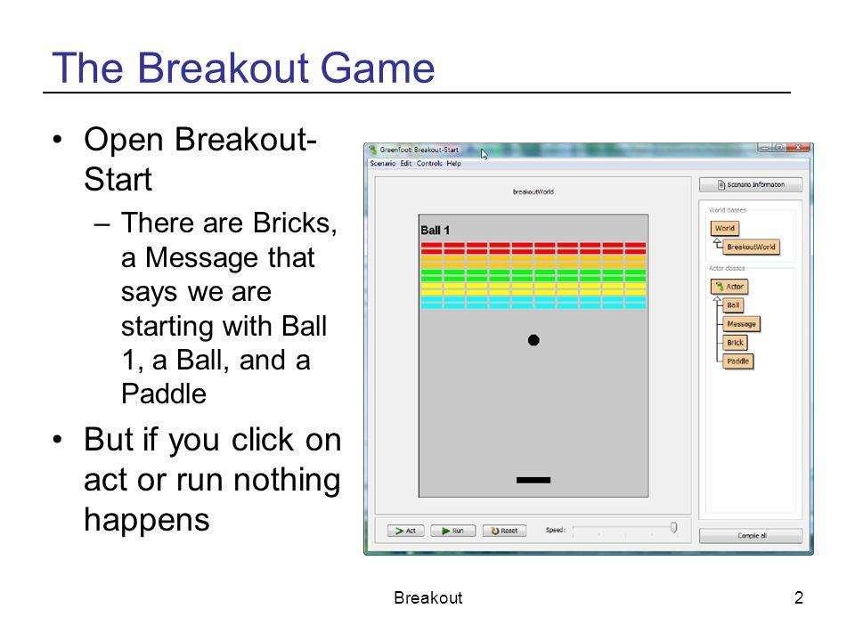 The Breakout Game Open Breakout-Start