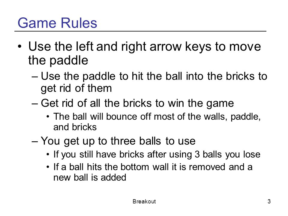 Game Rules Use the left and right arrow keys to move the paddle