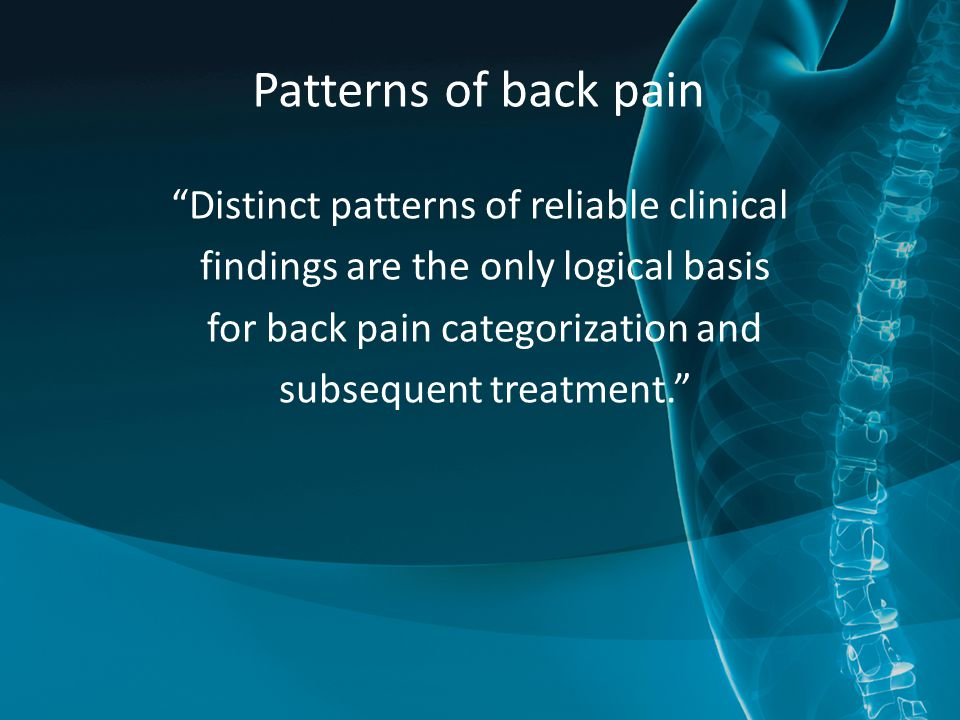 Patterns of back pain