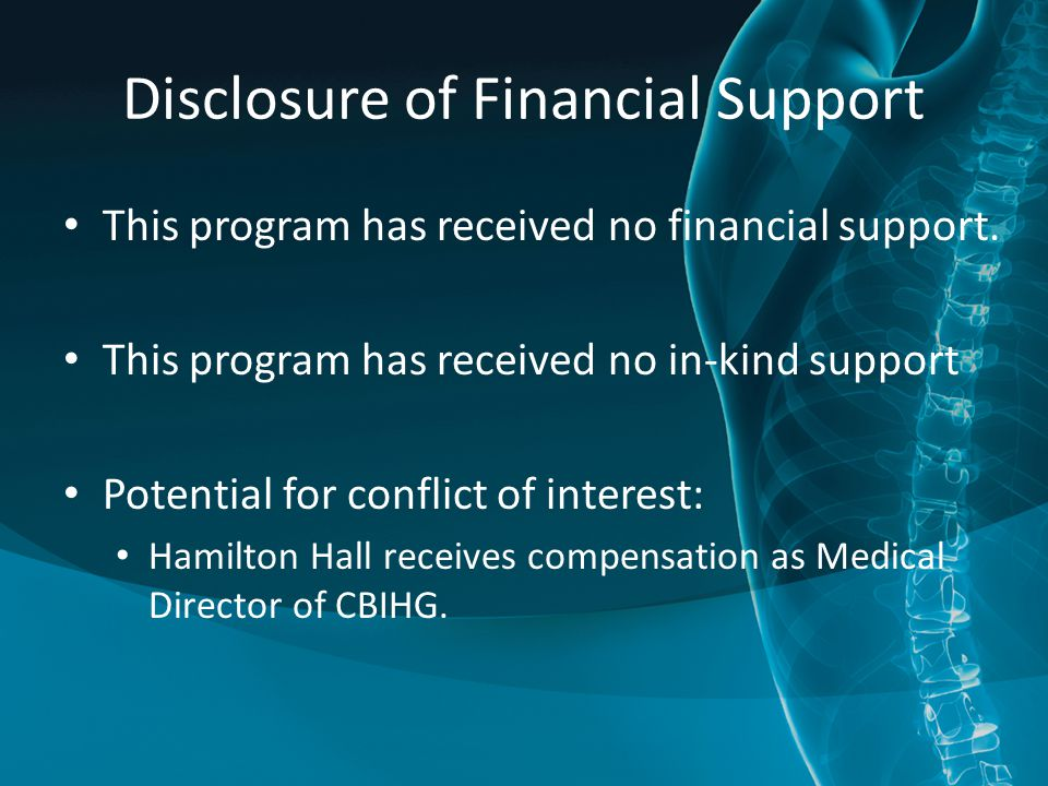 Disclosure of Financial Support