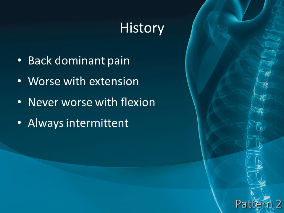 History Back dominant pain Worse with extension