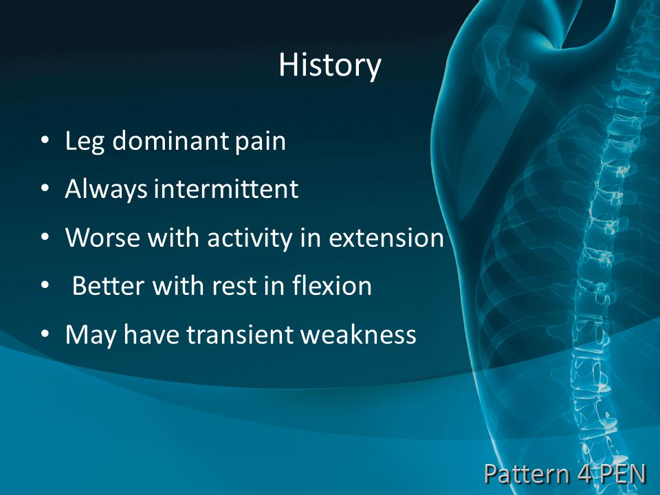 History Leg dominant pain Always intermittent