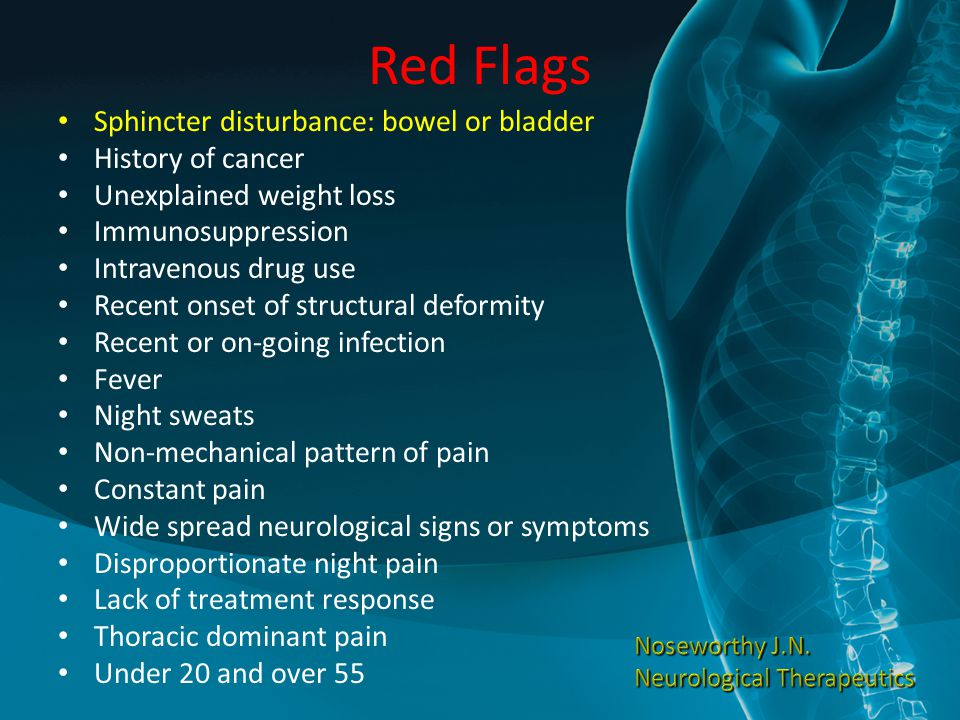 Red Flags Sphincter disturbance: bowel or bladder History of cancer