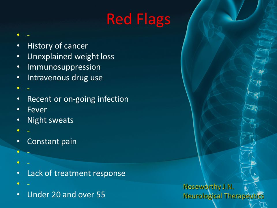 Red Flags - History of cancer Unexplained weight loss