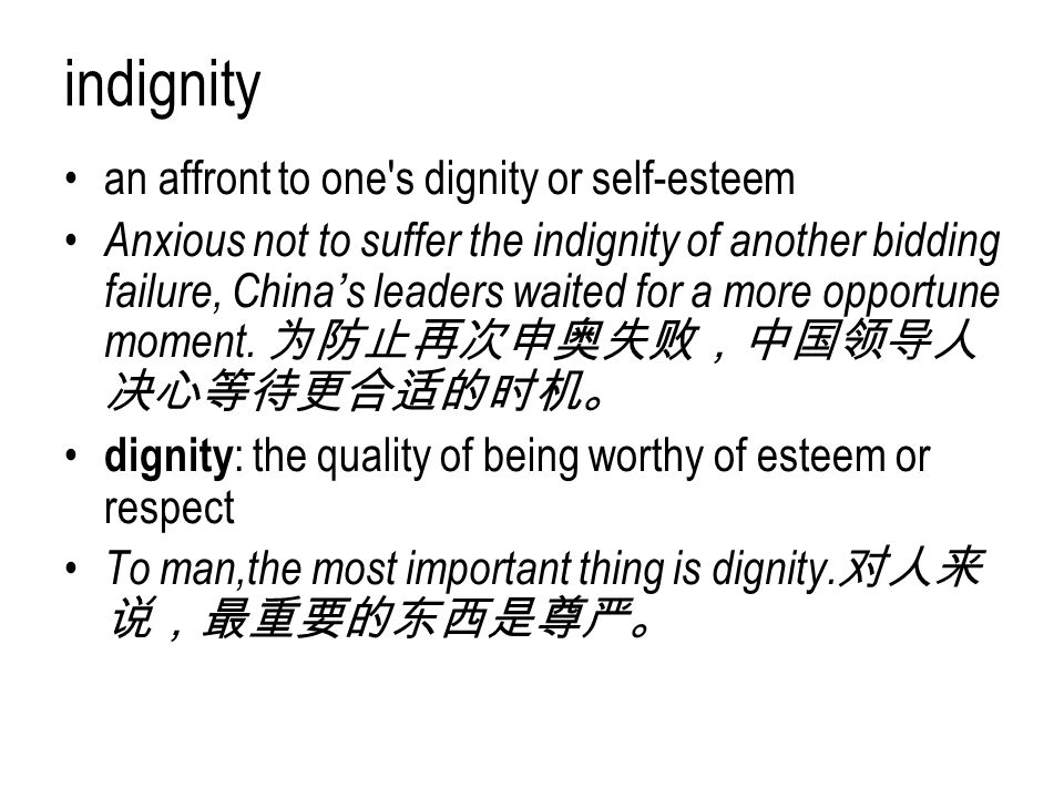 indignity an affront to one s dignity or self-esteem