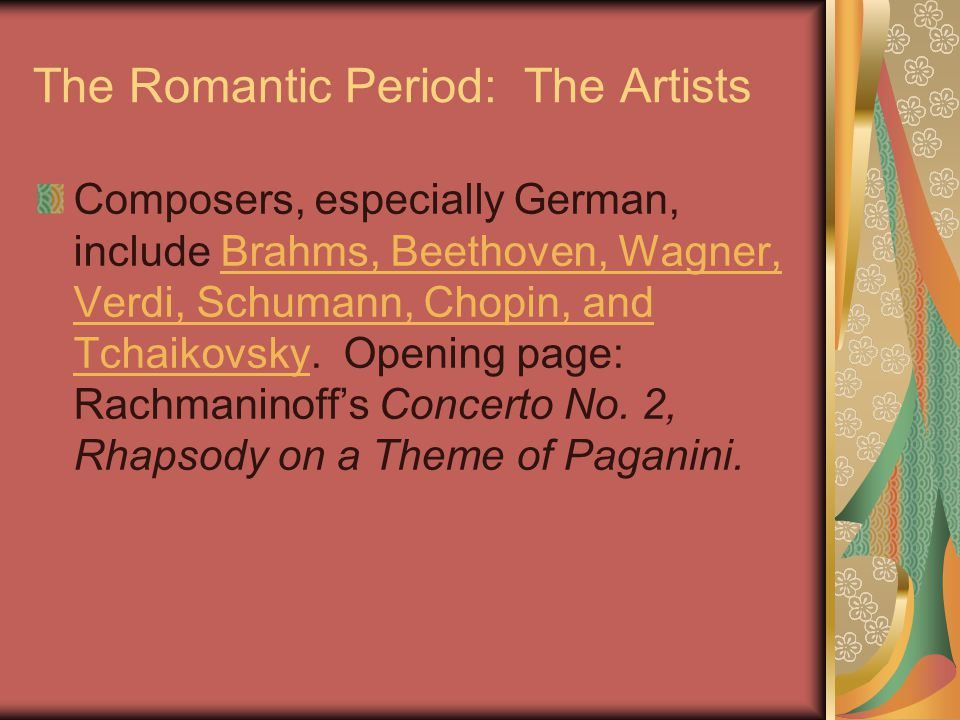 The Romantic Period: The Artists