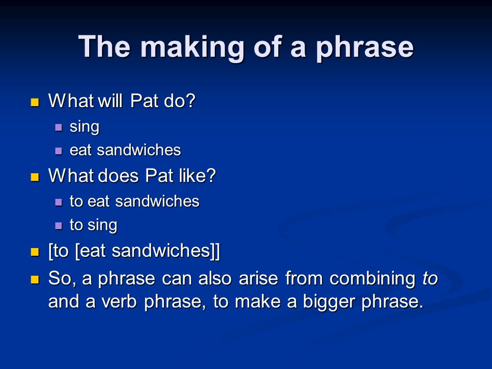 The making of a phrase What will Pat do What does Pat like