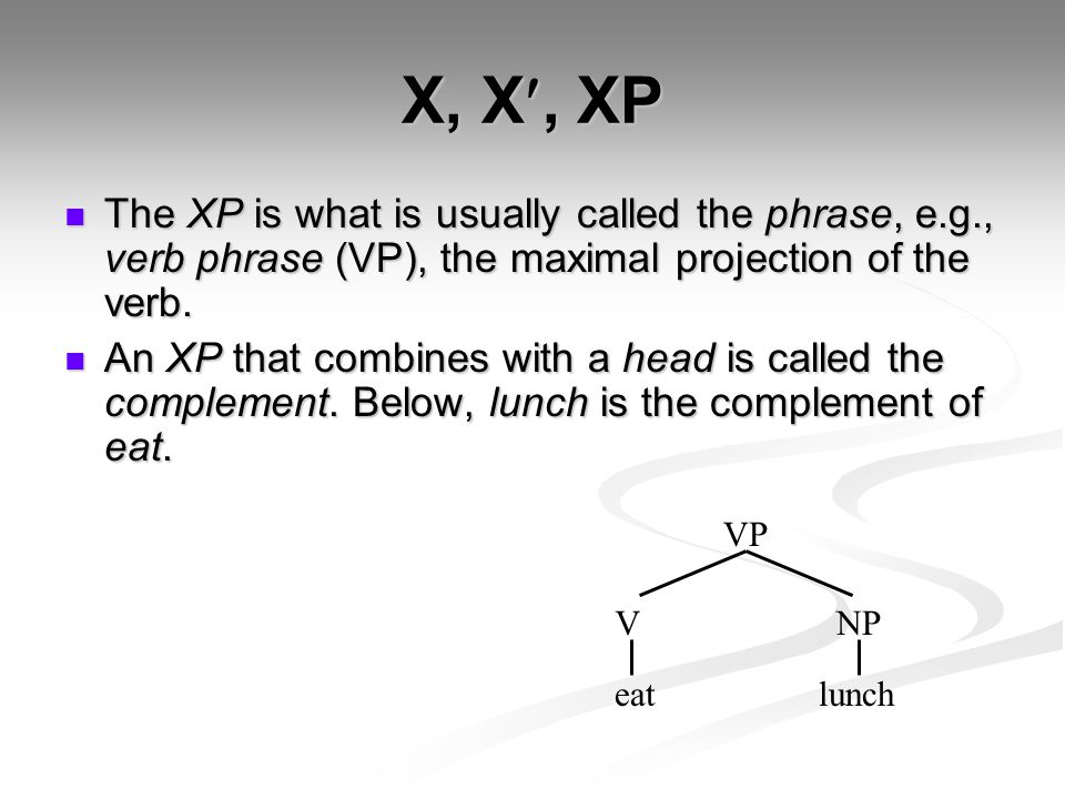 X, X, XP The XP is what is usually called the phrase, e.g., verb phrase (VP), the maximal projection of the verb.