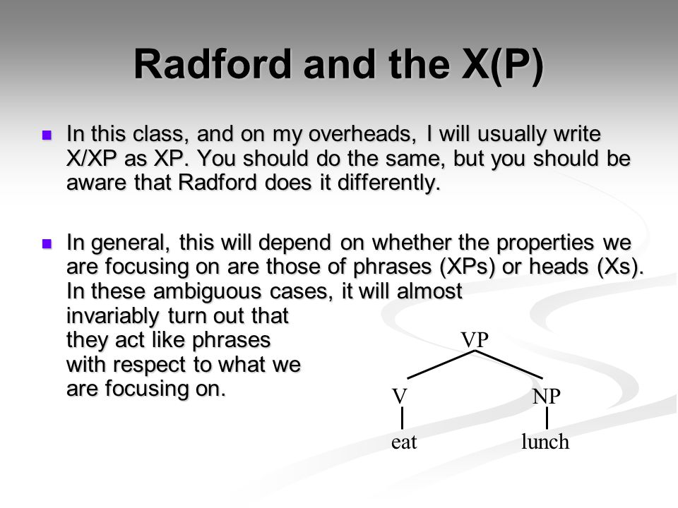 Radford and the X(P)