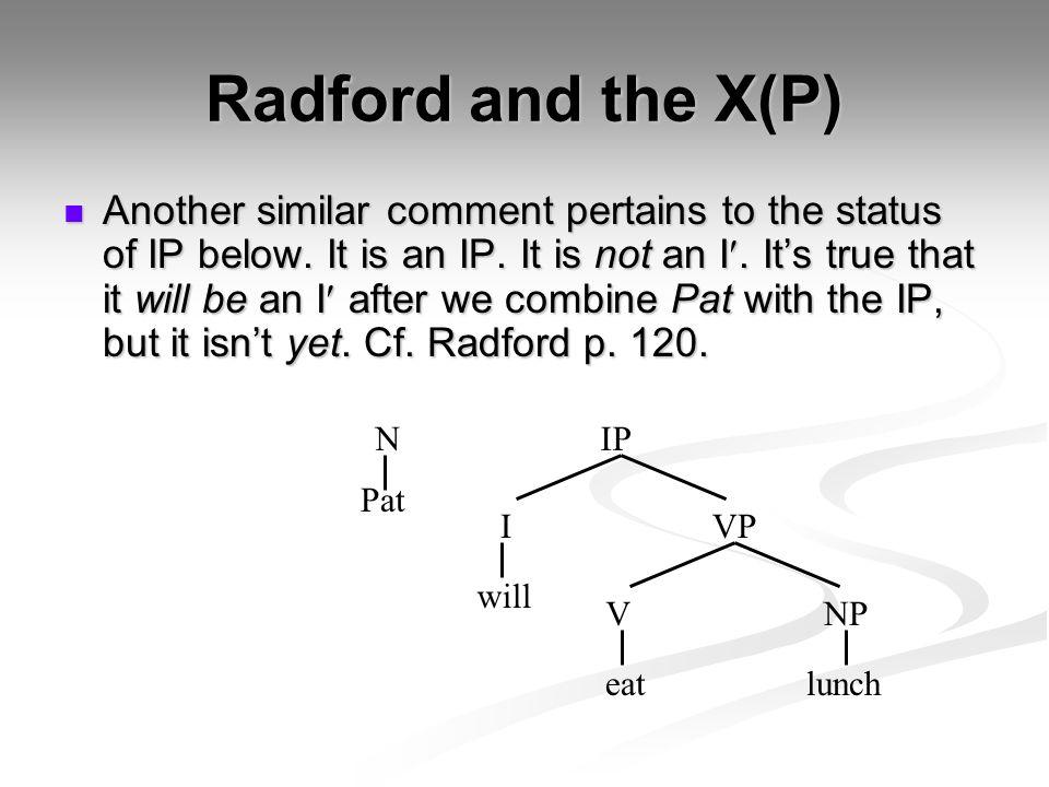 Radford and the X(P)