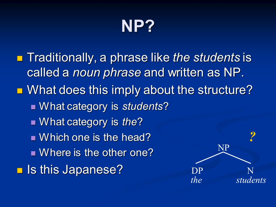 NP Traditionally, a phrase like the students is called a noun phrase and written as NP. What does this imply about the structure
