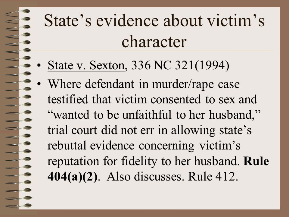 State's evidence about victim's character