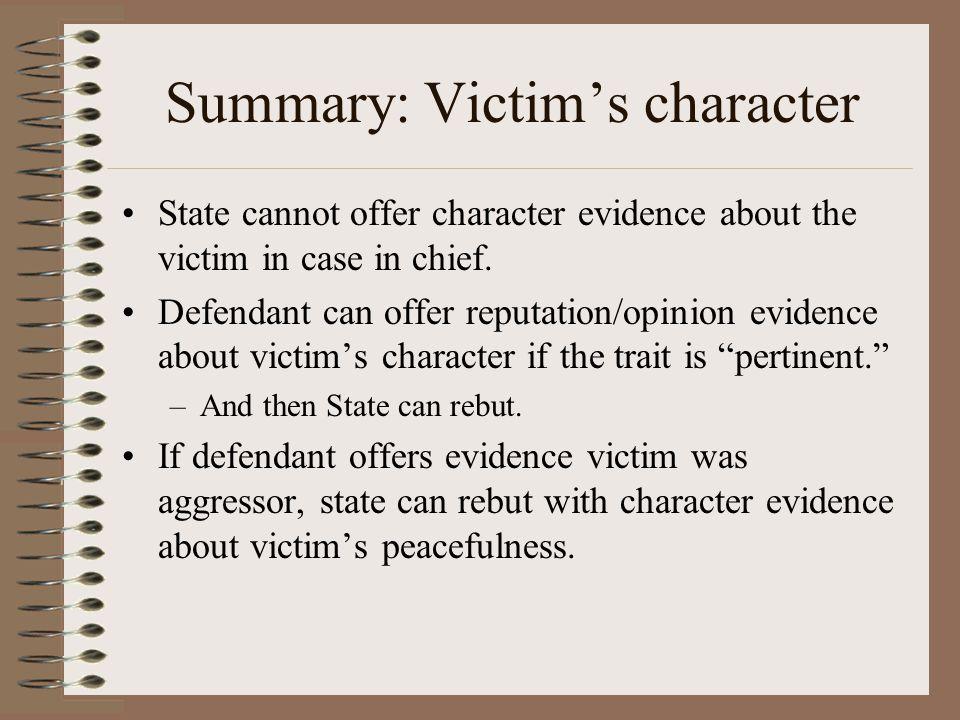 Summary: Victim's character