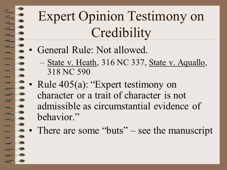 Expert Opinion Testimony on Credibility