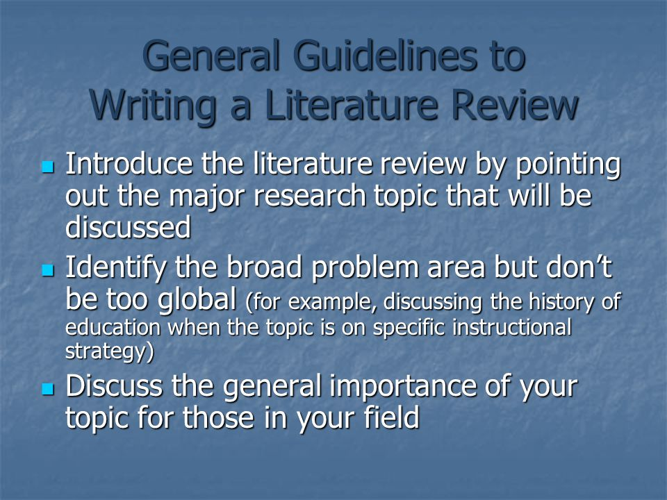 Importance of literature review in educational research