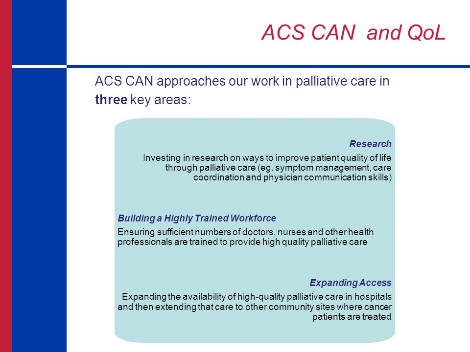 ACS CAN and QoL ACS CAN approaches our work in palliative care in three key areas: Research.