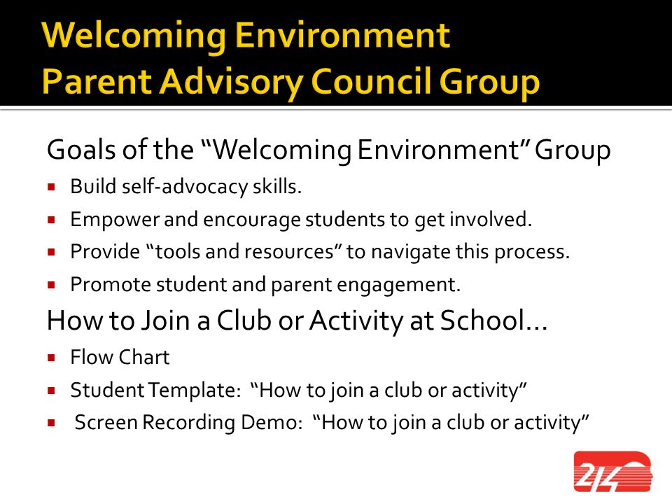 Welcoming Environment Parent Advisory Council Group