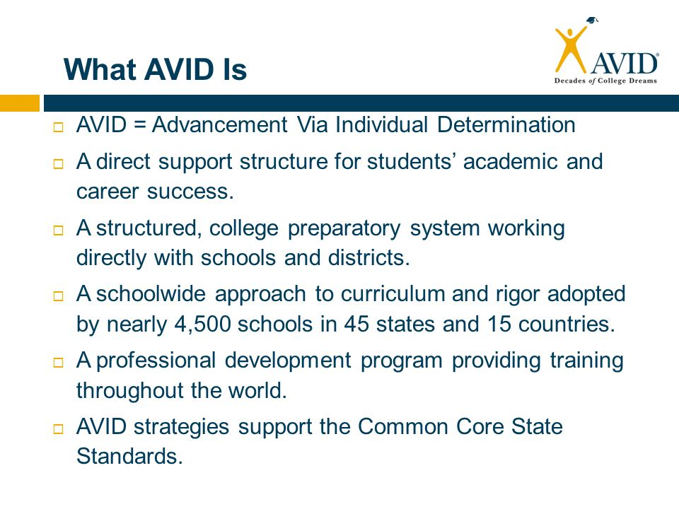 What AVID Is AVID = Advancement Via Individual Determination