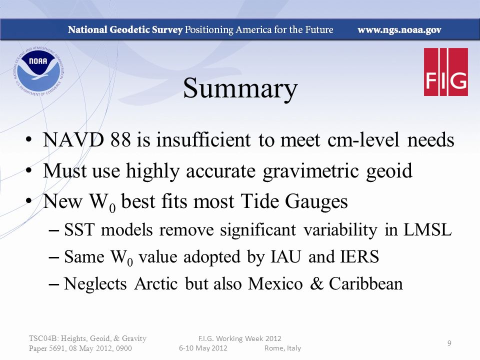 Summary NAVD 88 is insufficient to meet cm-level needs