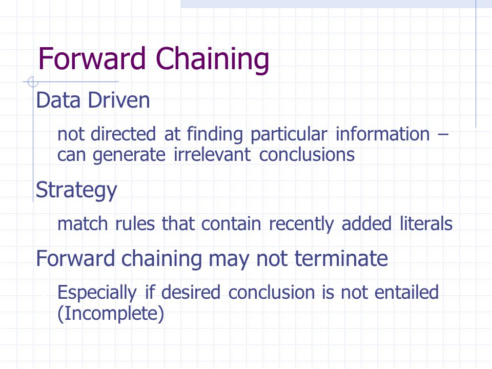 Forward Chaining Data Driven Strategy