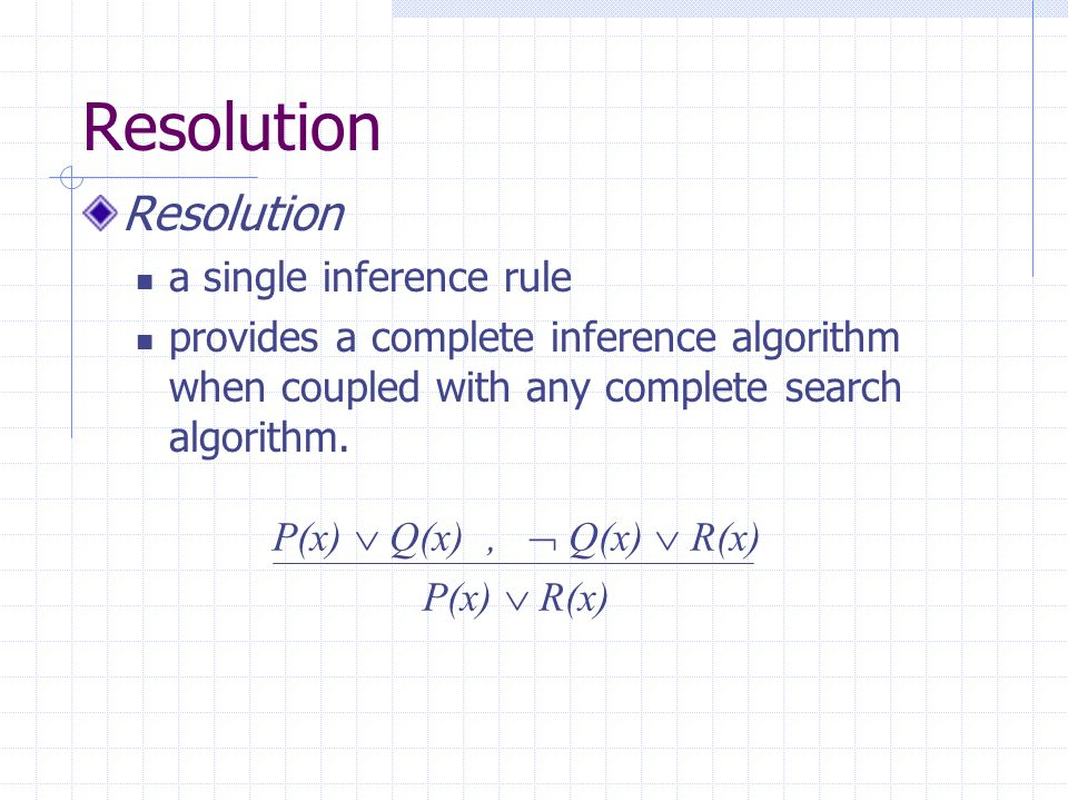 Resolution Resolution a single inference rule