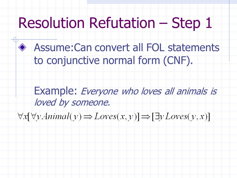Resolution Refutation – Step 1