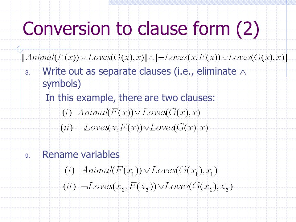 Conversion to clause form (2)