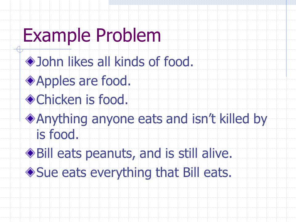 Example Problem John likes all kinds of food. Apples are food.