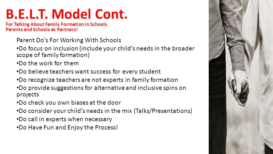 B.E.L.T. Model Cont. Parent Do's For Working With Schools