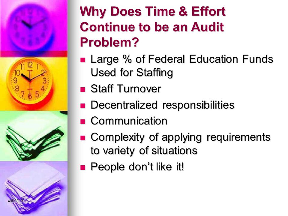 Why Does Time & Effort Continue to be an Audit Problem