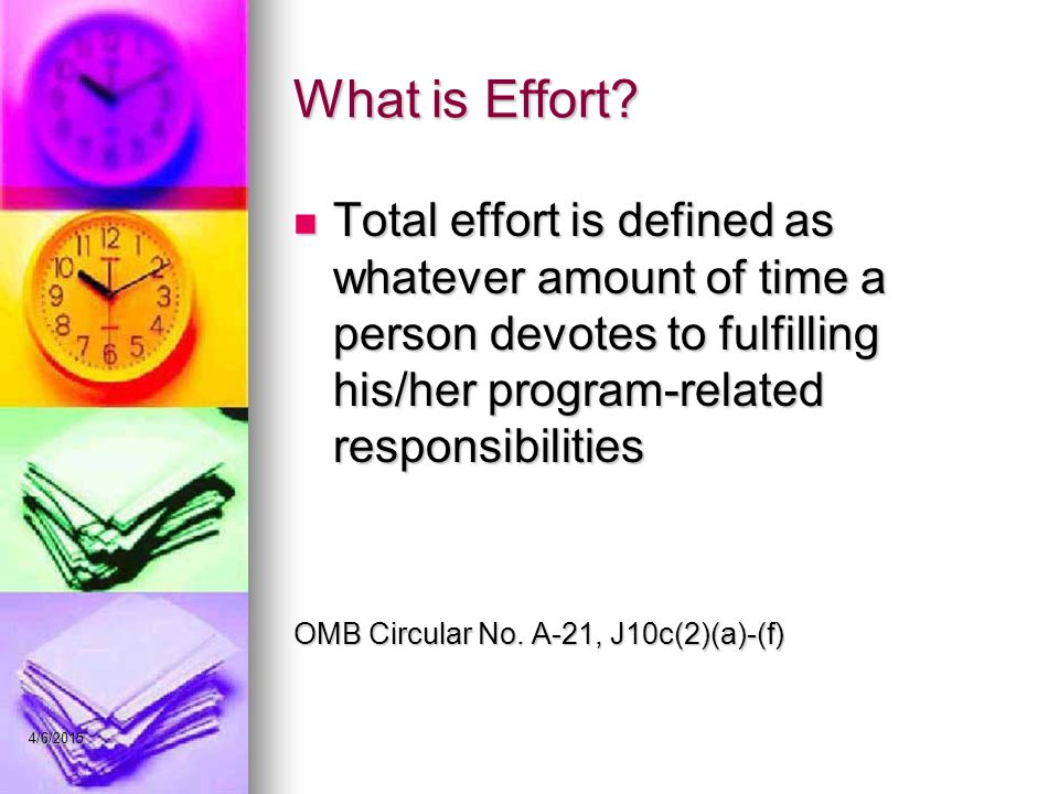 What is Effort Total effort is defined as whatever amount of time a person devotes to fulfilling his/her program-related responsibilities.