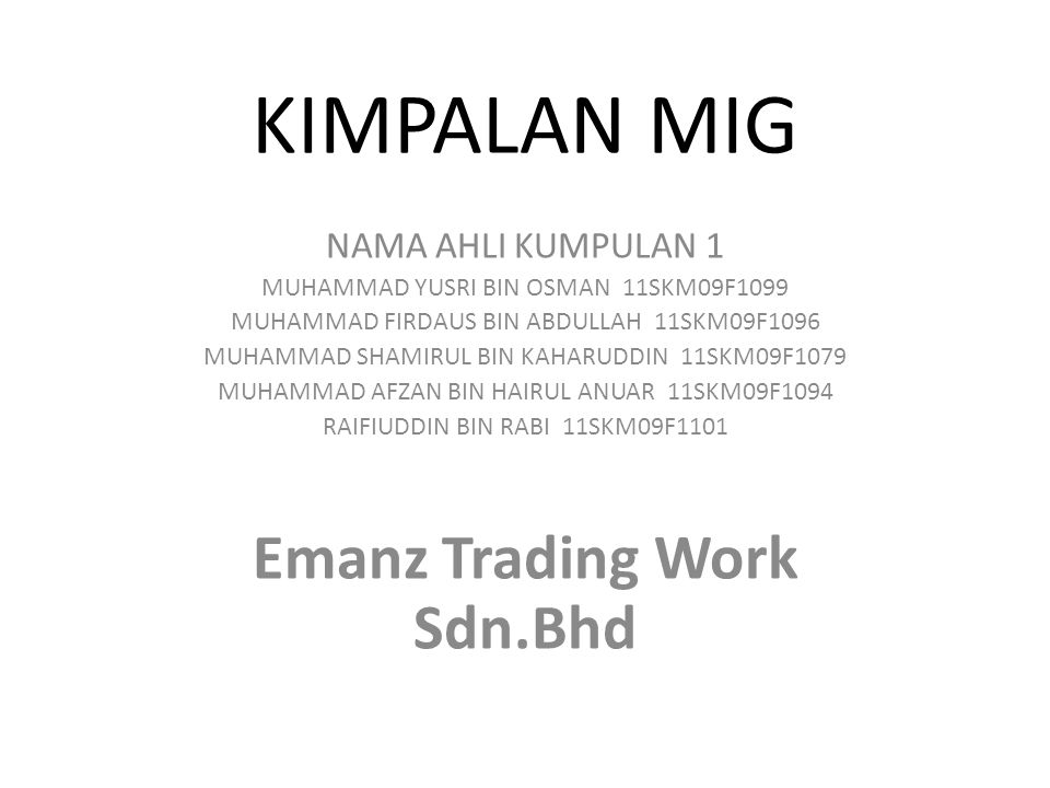KIMPALAN MIG Emanz Trading Work Sdn.Bhd NAMA AHLI KUMPULAN 1