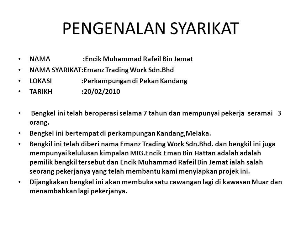 PENGENALAN SYARIKAT NAMA :Encik Muhammad Rafeil Bin Jemat