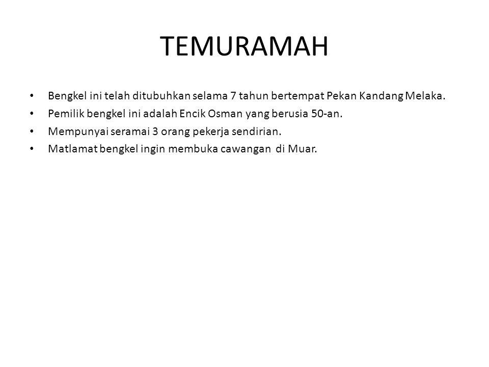 TEMURAMAH Bengkel ini telah ditubuhkan selama 7 tahun bertempat Pekan Kandang Melaka. Pemilik bengkel ini adalah Encik Osman yang berusia 50-an.