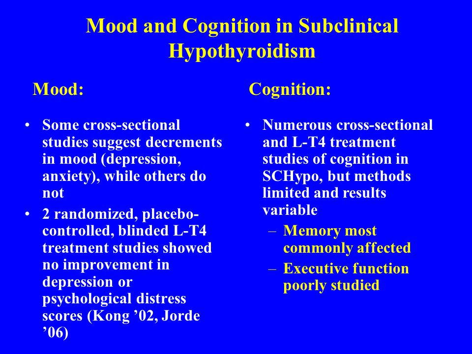 Mood and Cognition in Subclinical Hypothyroidism