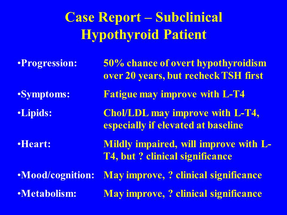 Case Report – Subclinical Hypothyroid Patient