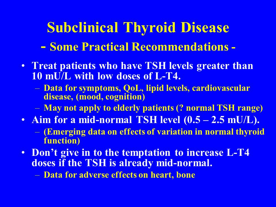 Subclinical Thyroid Disease - Some Practical Recommendations -
